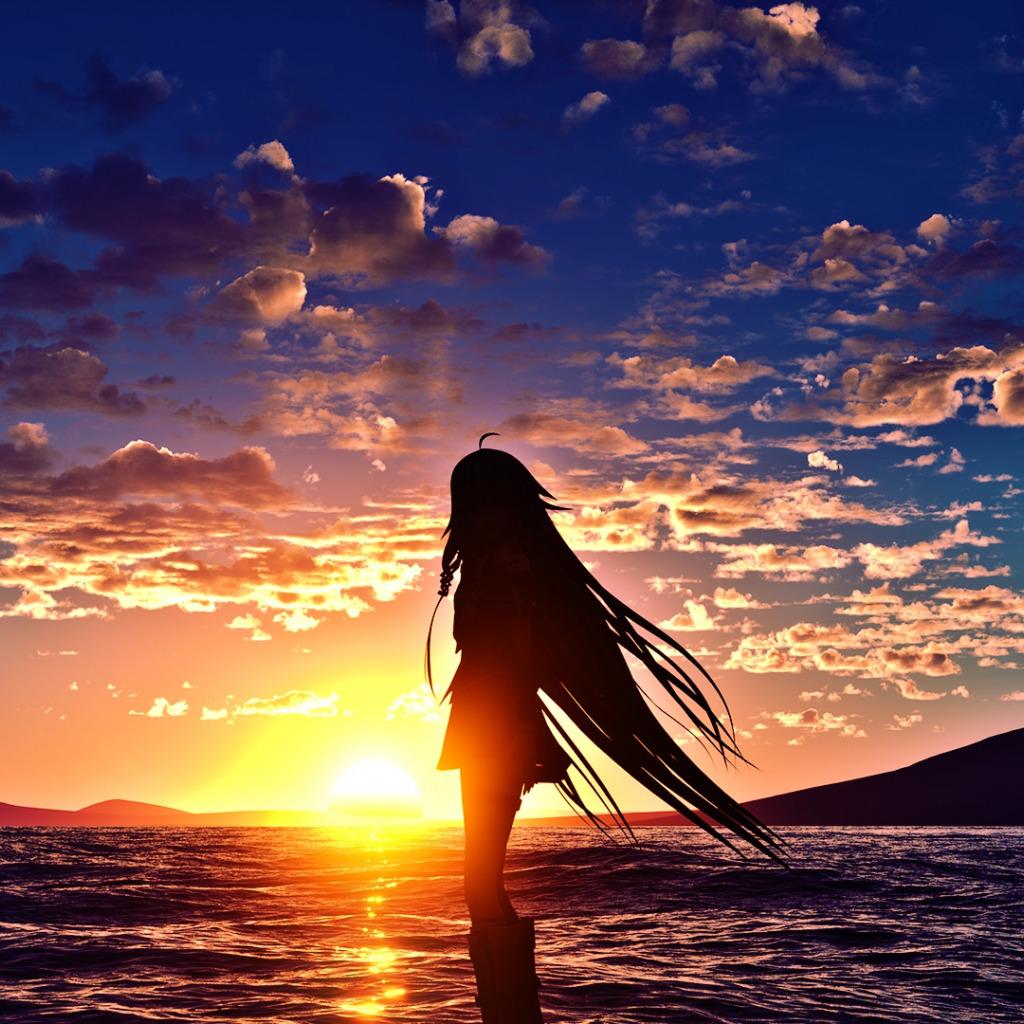 Картинки силуэт девушки на море на закате