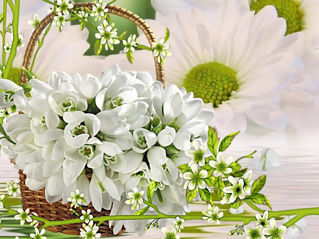 Открытка с днем рождения с тюльпанами и подснежниками