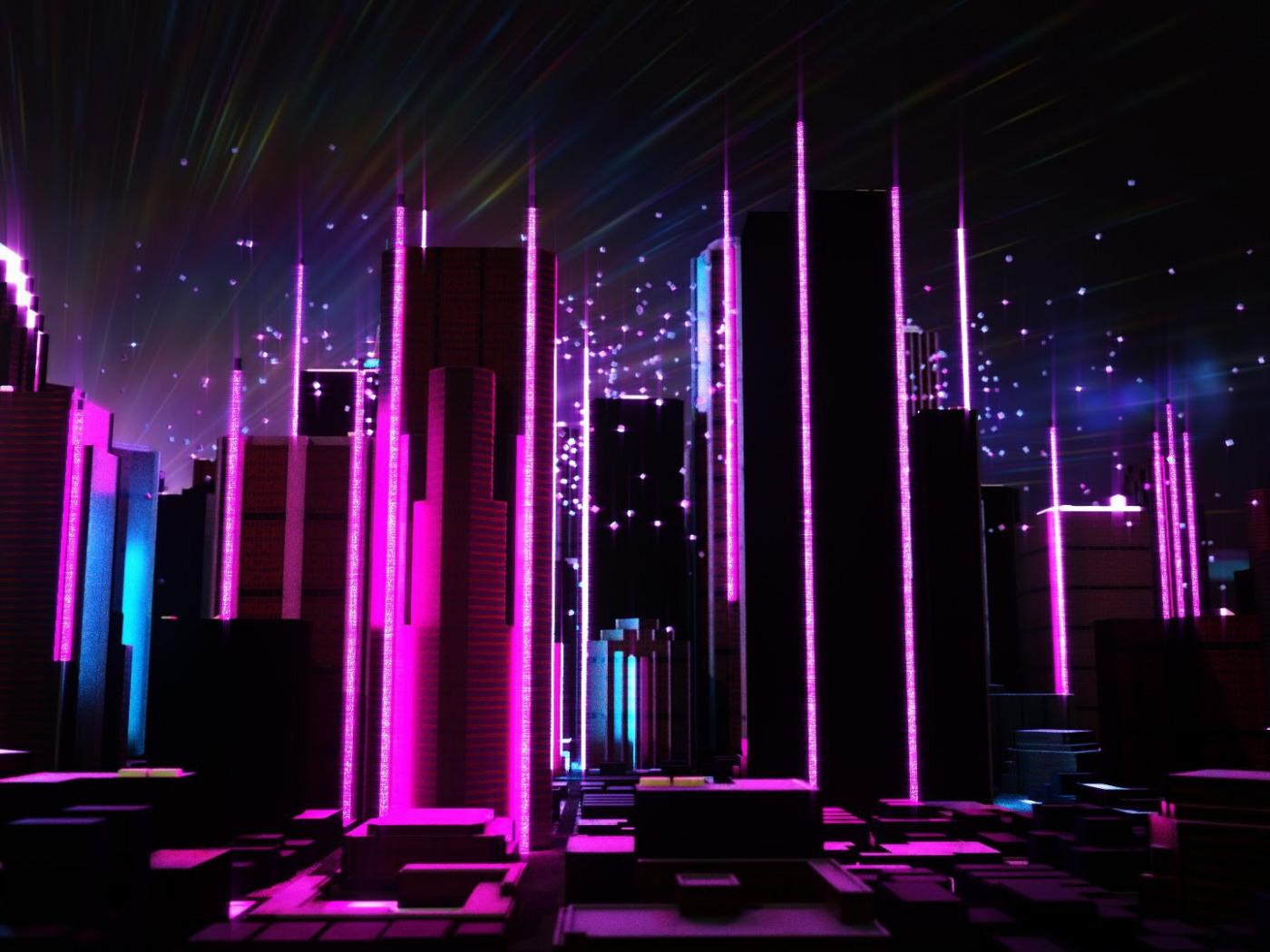 flashy neon lit night scene - HD1400×1050