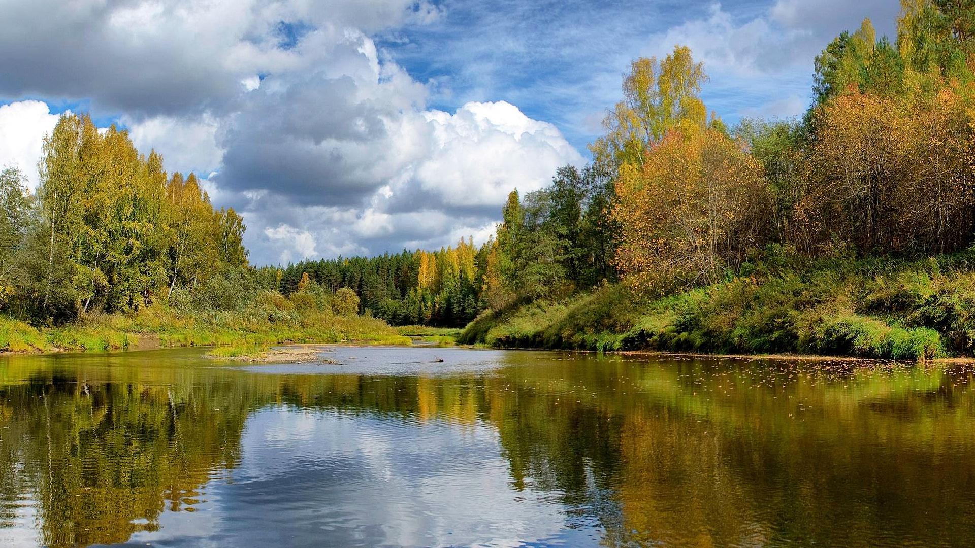картинки на рабочий стол природа лес озера реки облака поделиться