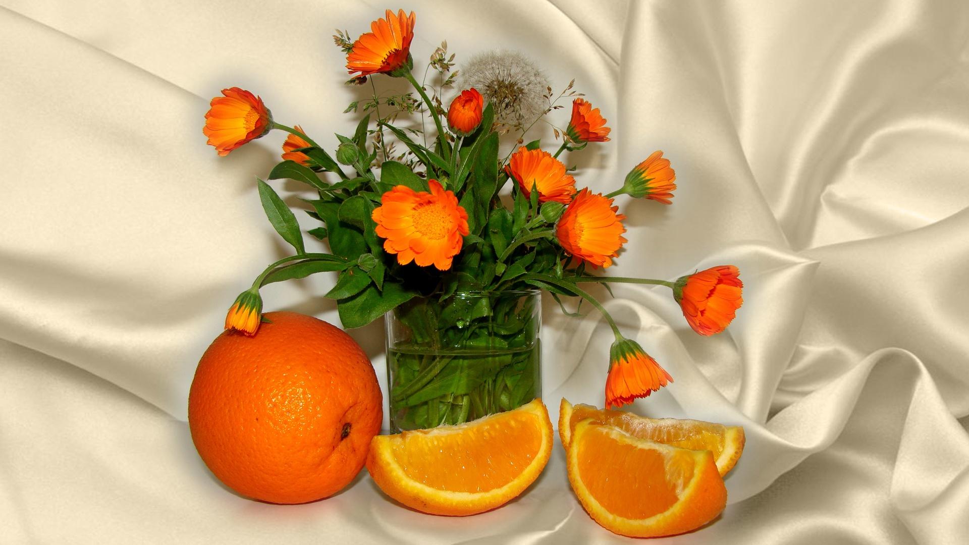 Картинки апельсины и цветы, рисунок