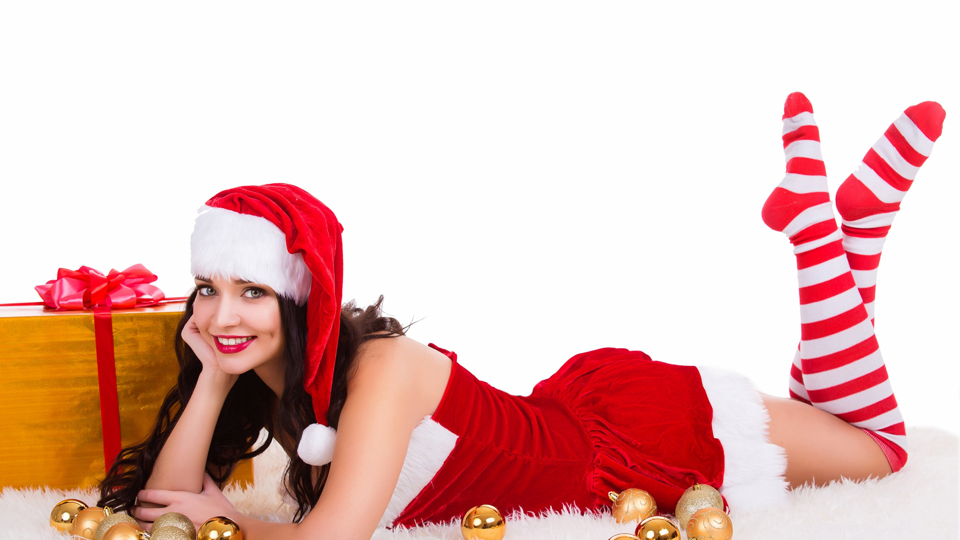 Девушка в новогодней шапке картинки