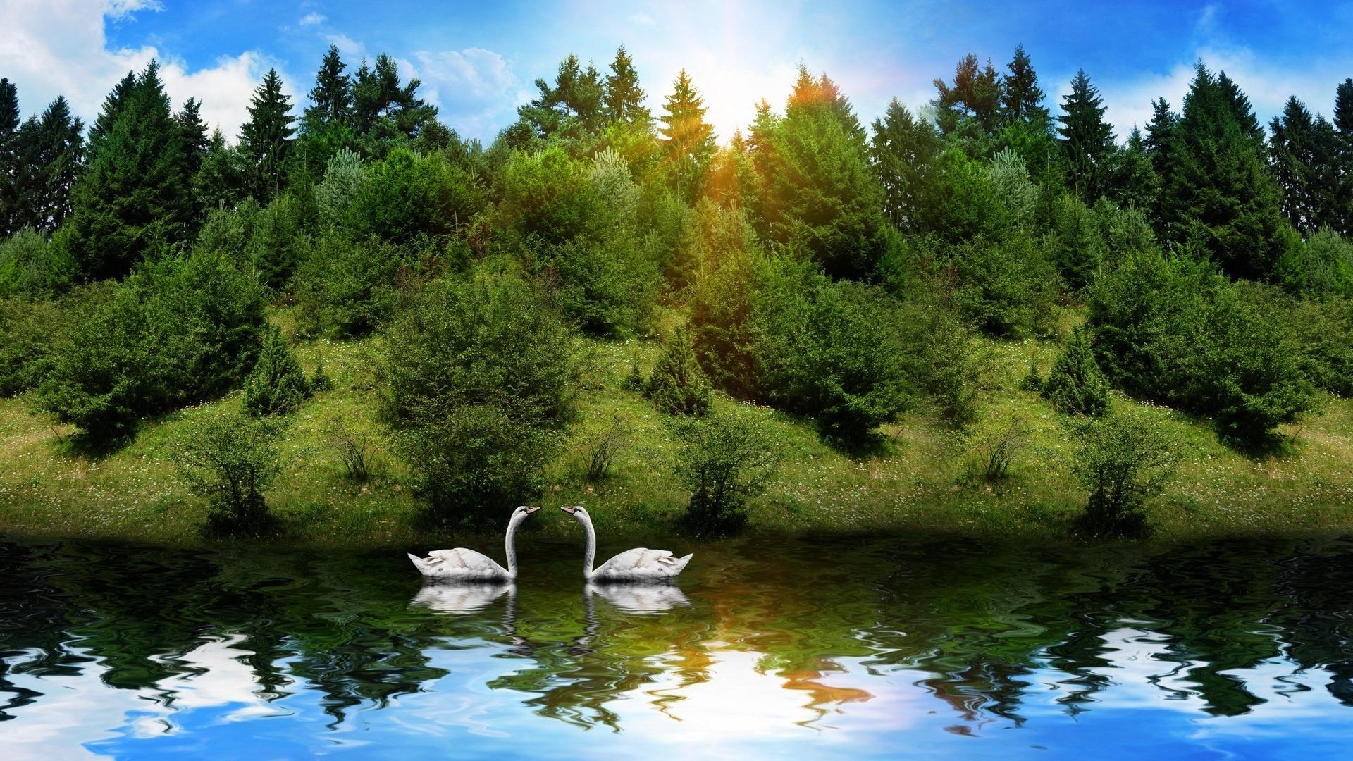 Открытка с озером