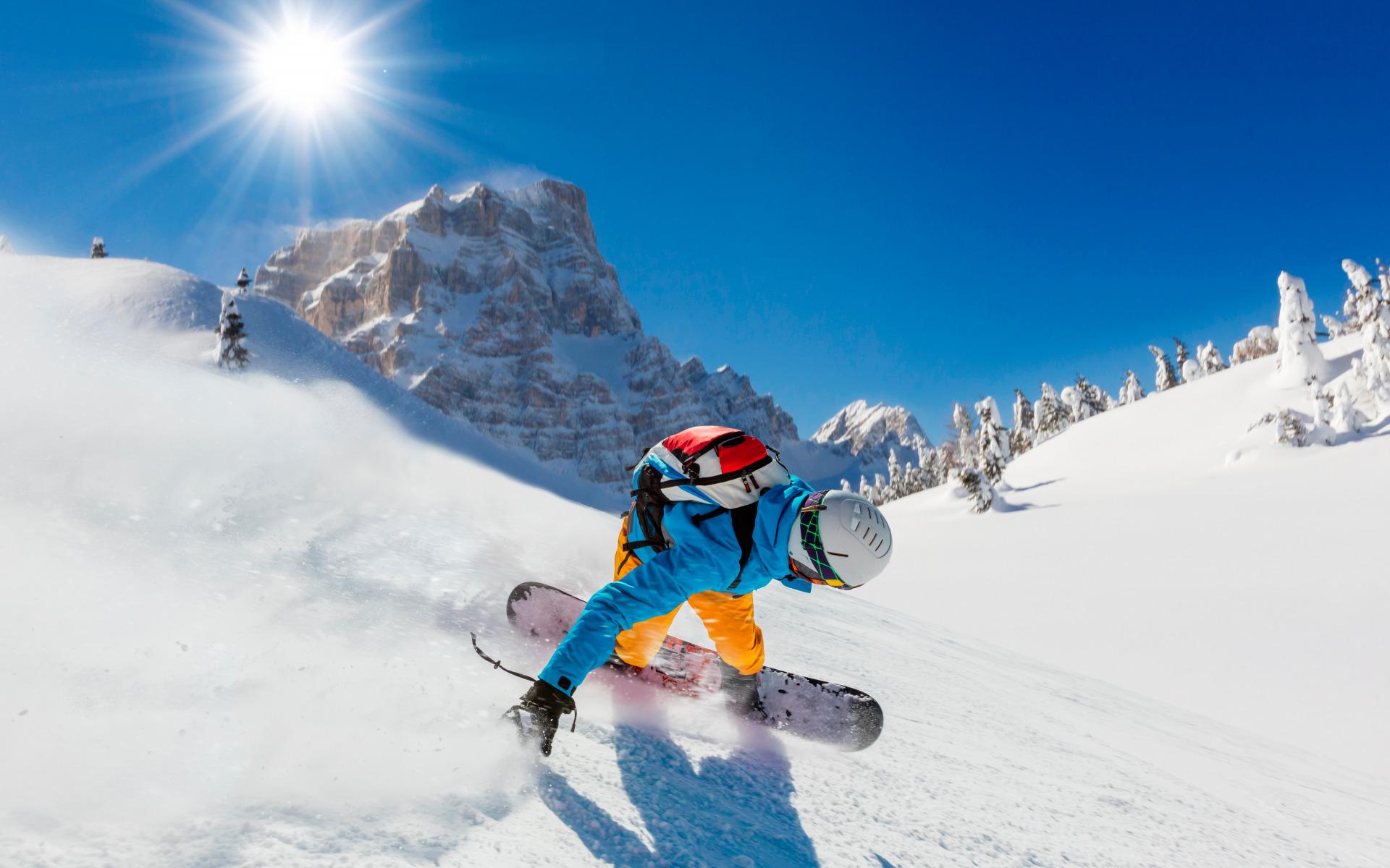 сноубордист вираж снег солнце  № 3559585 бесплатно
