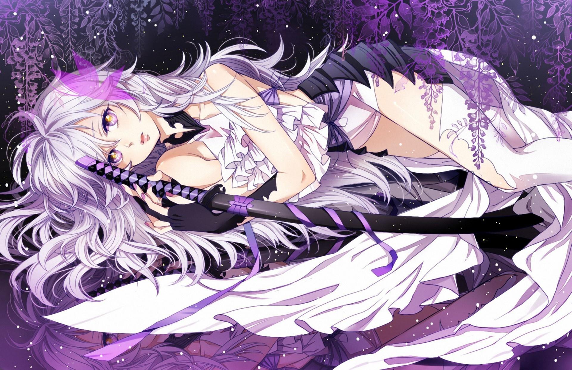 Аниме девушки с белыми волосами и фиолетовыми глазами