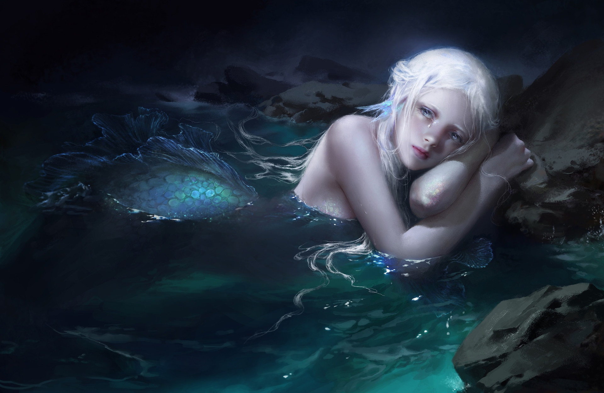 Картинки фэнтези девушка в воде