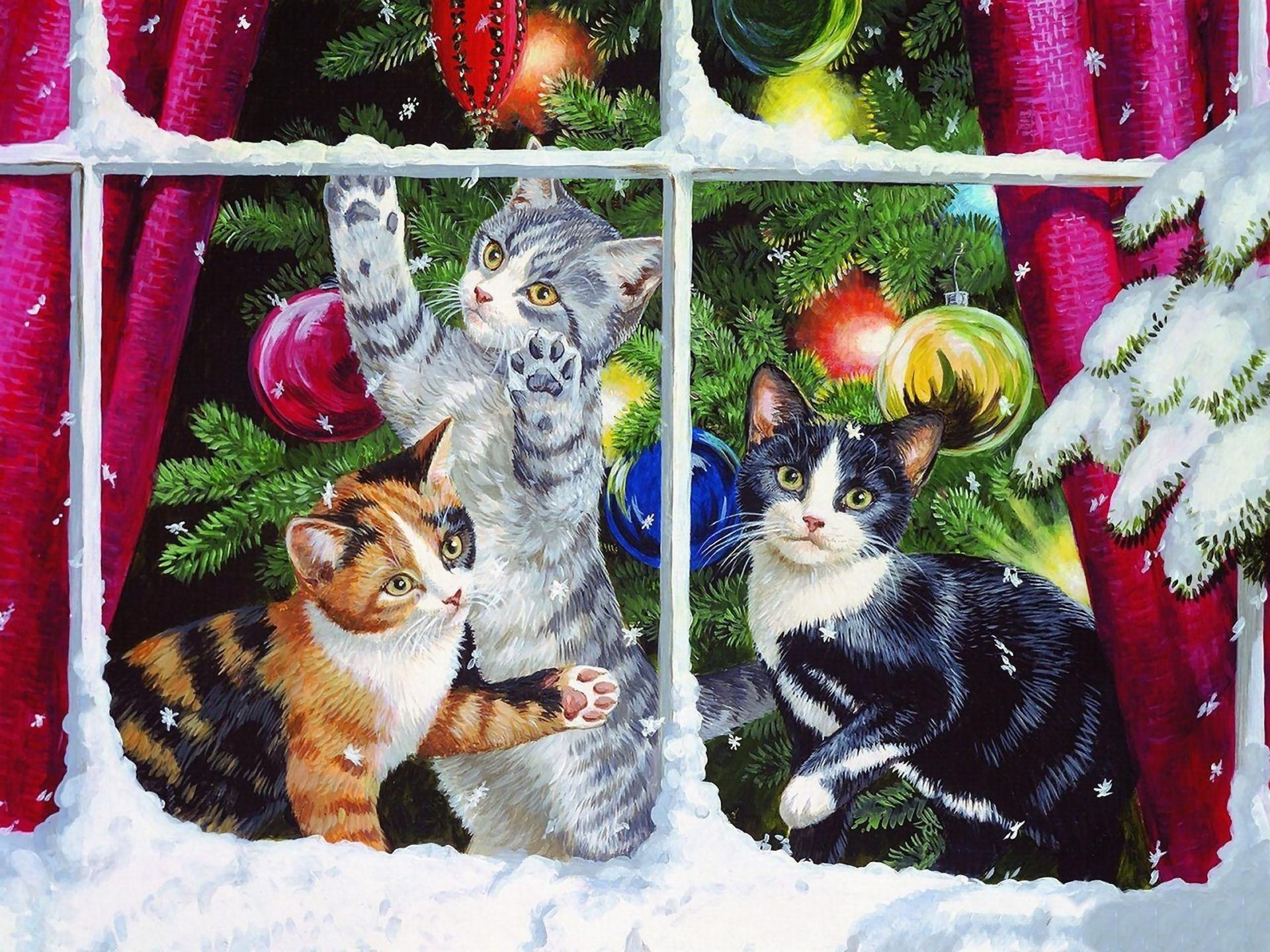 Елка, новогодние открытки котята