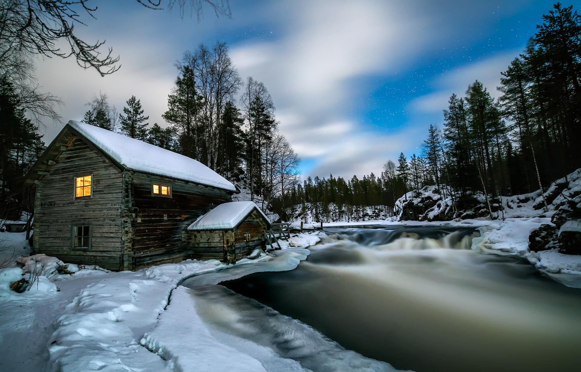 картинка зима природа с домиком пульс, вести подсчет