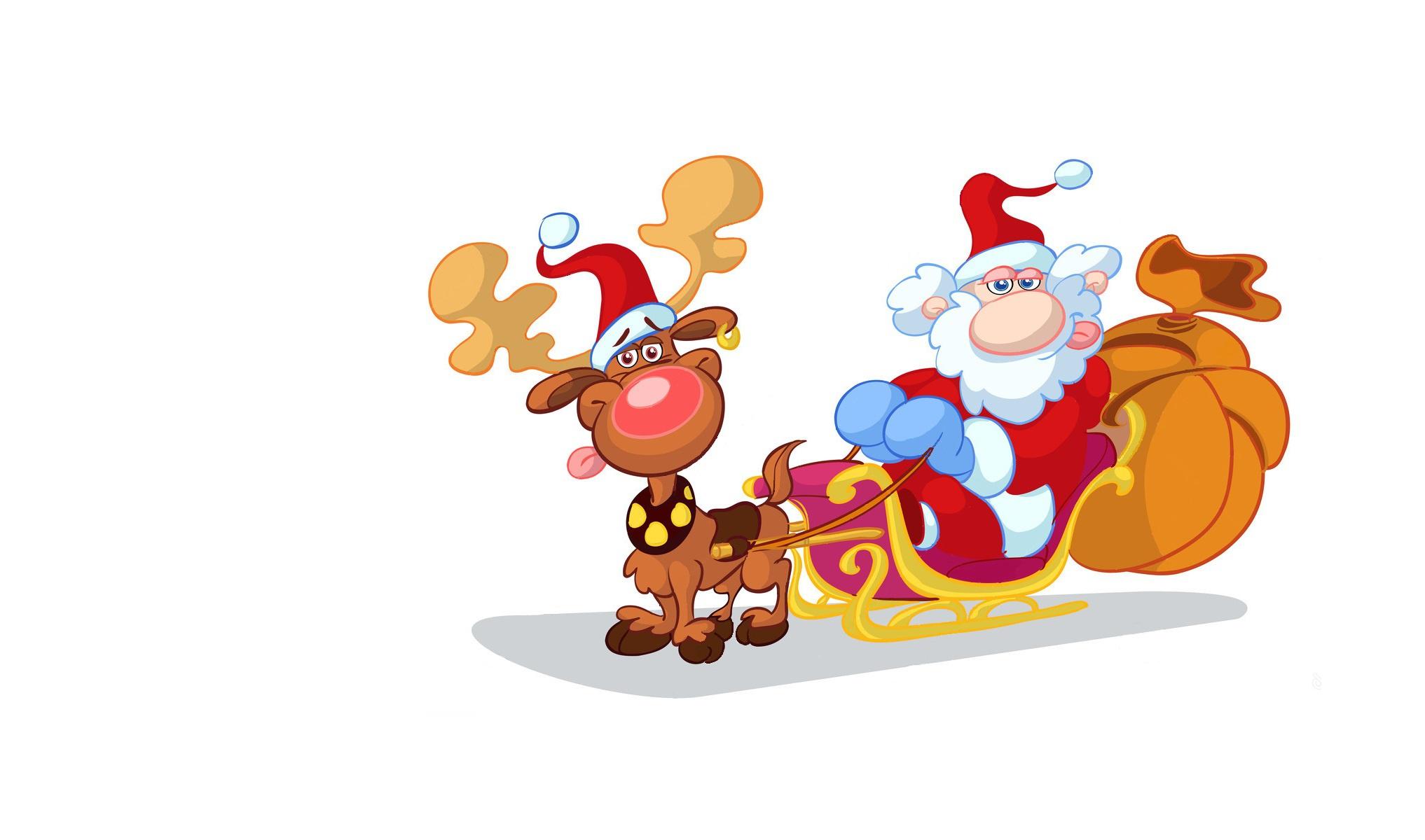 Дед мороз на оленей открытка
