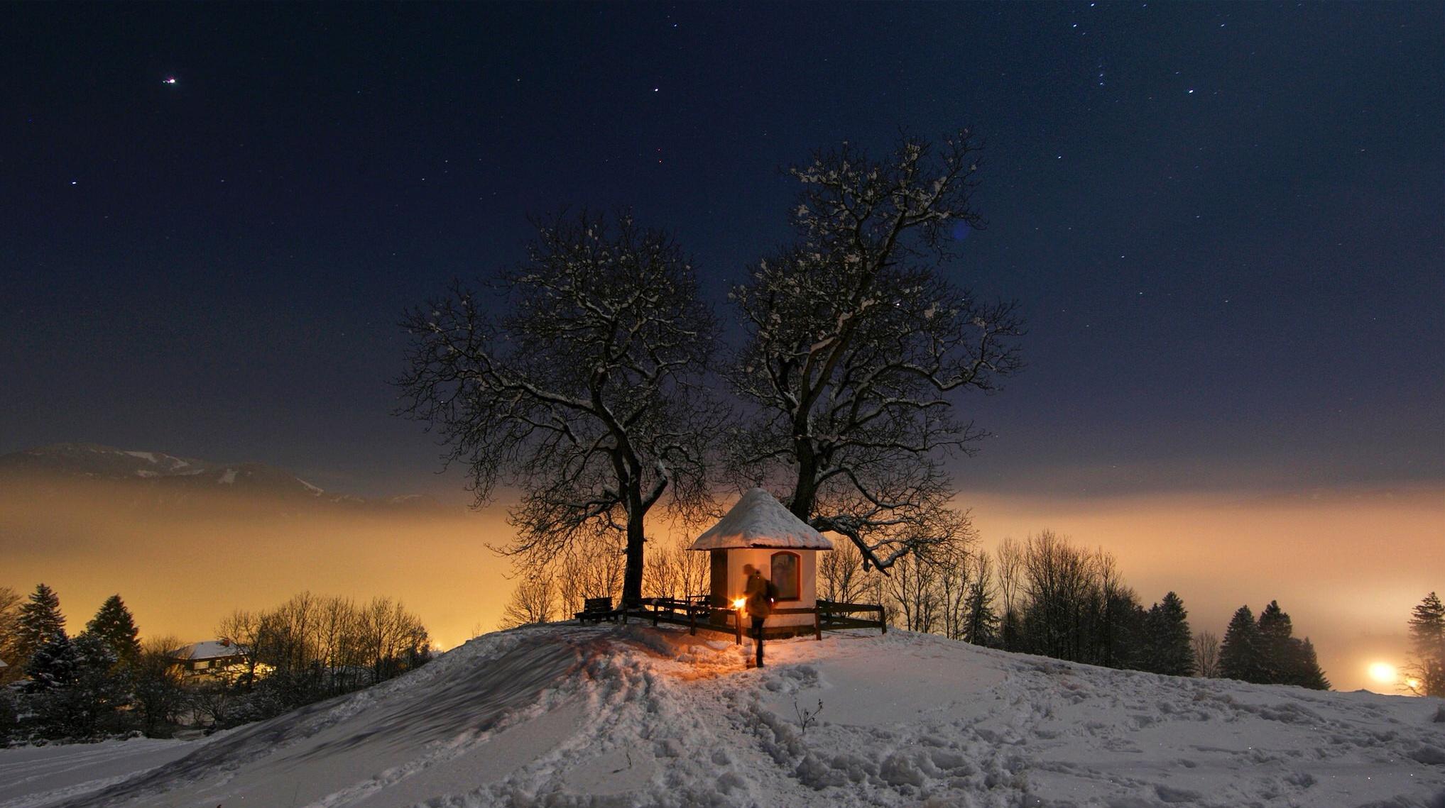 Красивые зимние ночные пейзажи фото