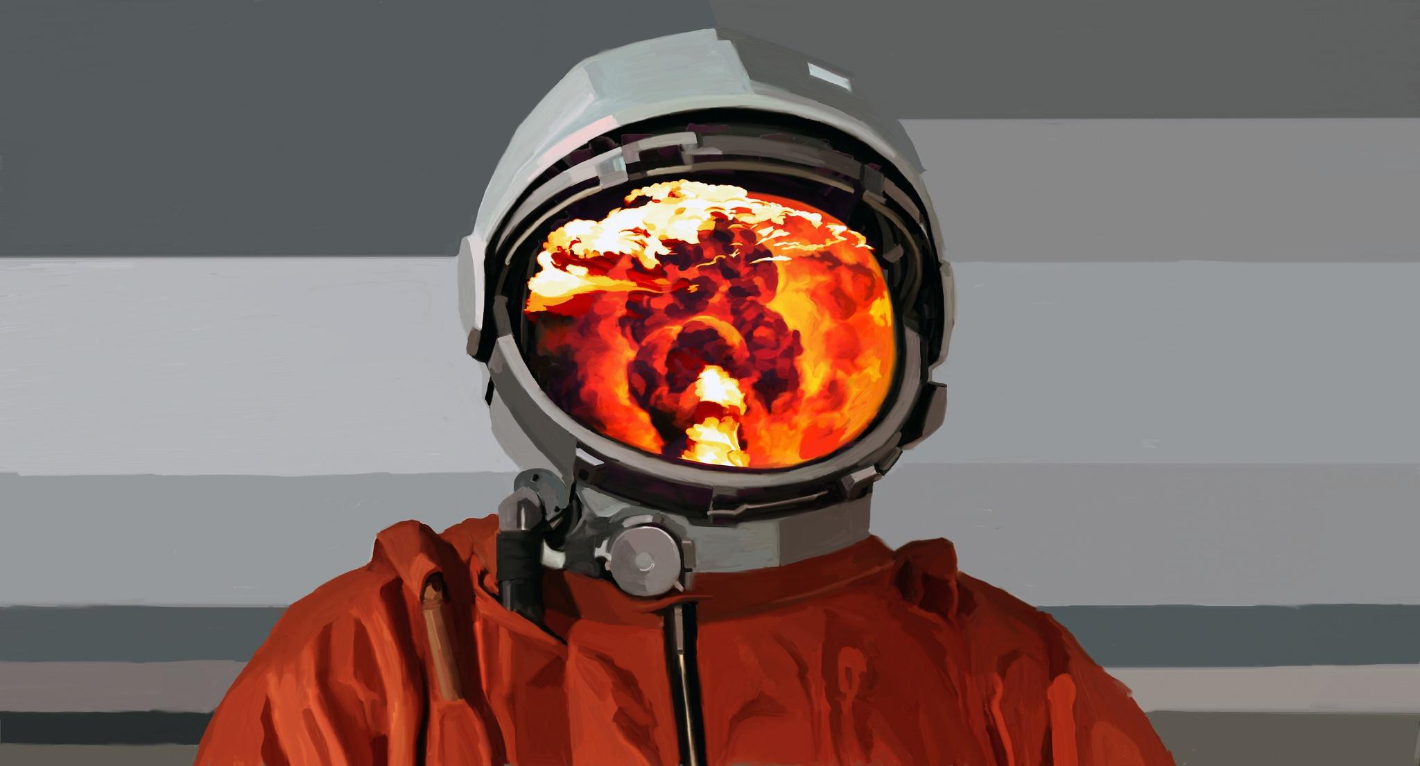 astronaut on fire - HD2048×1105