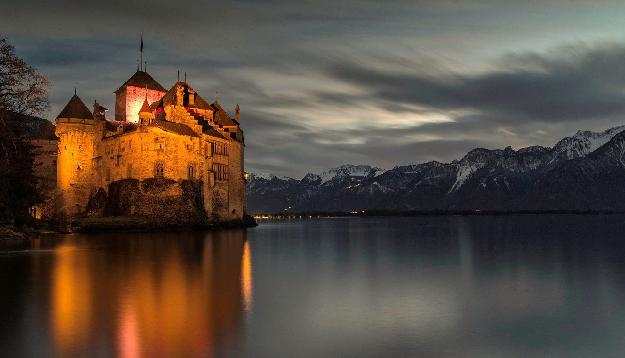 Замок швейцария вечер  № 2569366 бесплатно