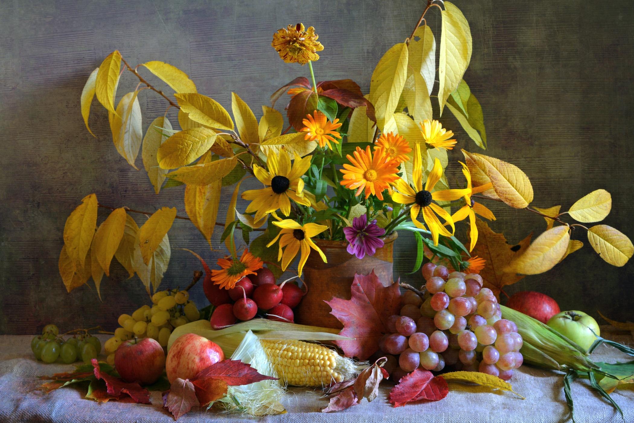 Обои на рабочий стол композиции из цветов и фруктов реках вырезуб