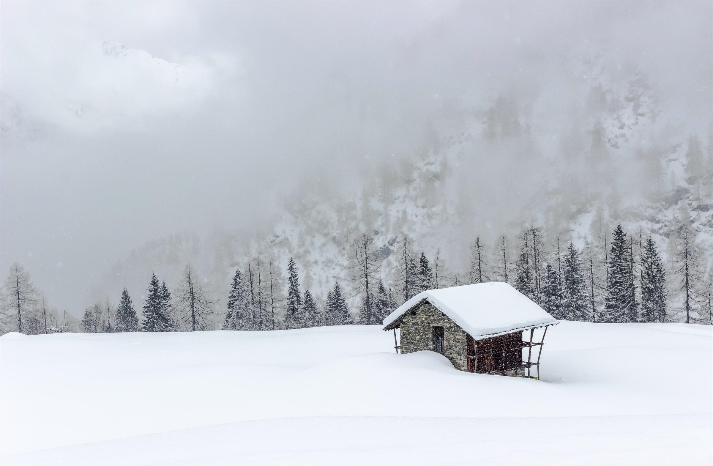 снег горы туман snow mountains fog  № 1146687 бесплатно