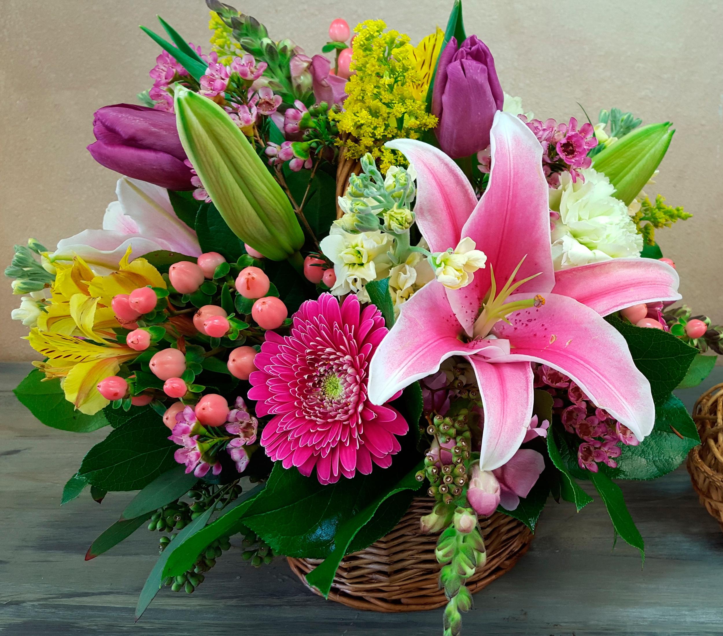 Открытки с цветами букетами лилии