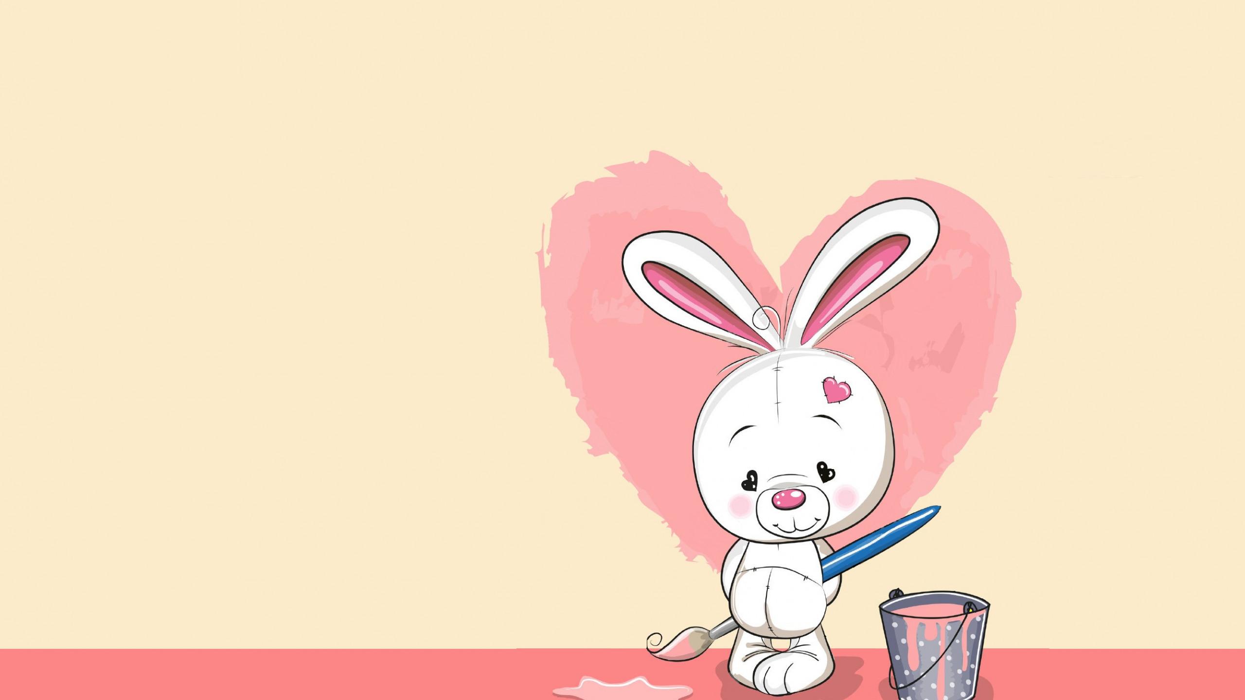 Заяц с сердечком открытка
