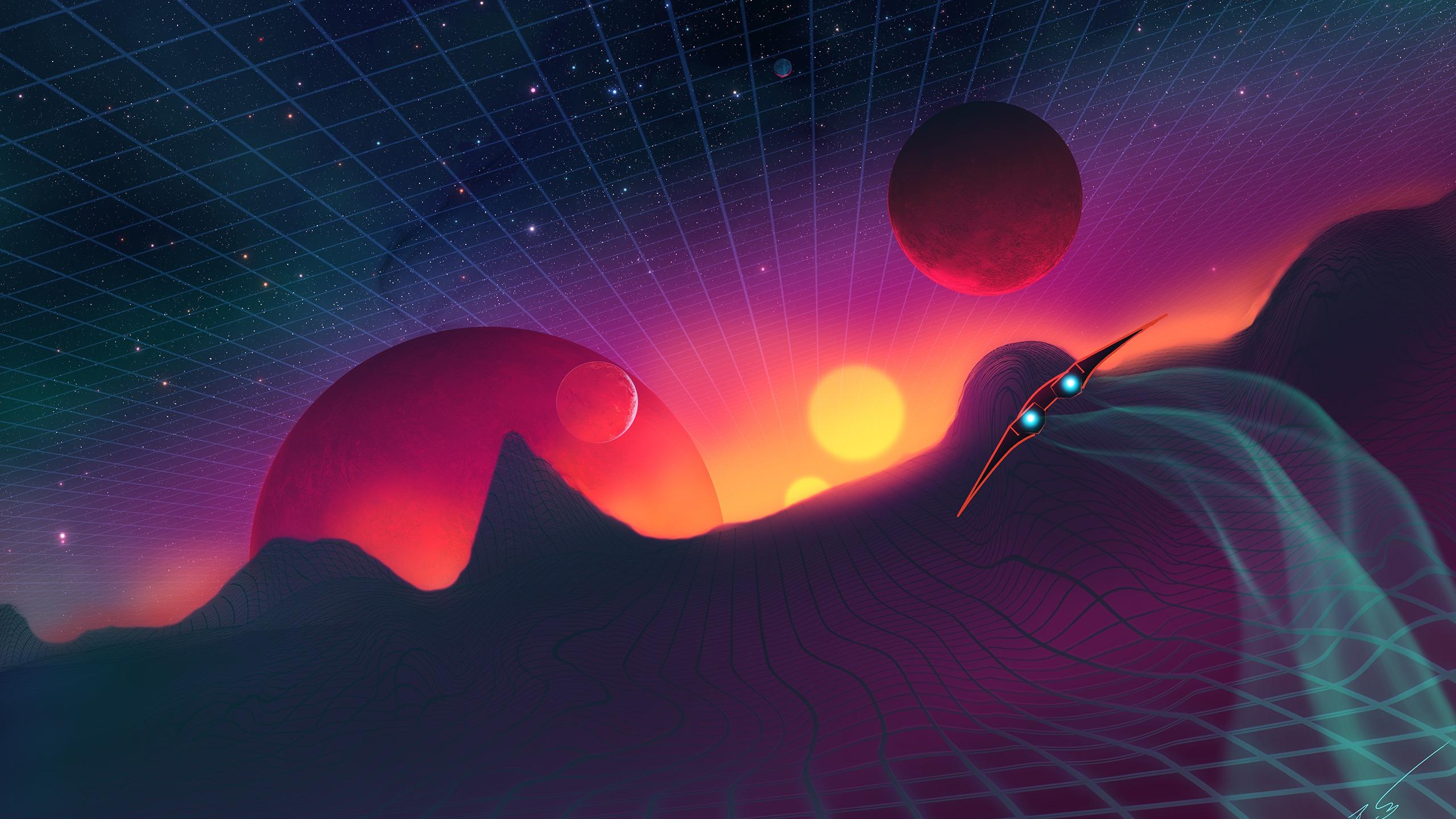 Скачать обои космос, огни, сетка, планеты, корабль, звёзды, квадраты