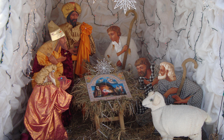Картинки с рождественским вертепом, поздравления папе