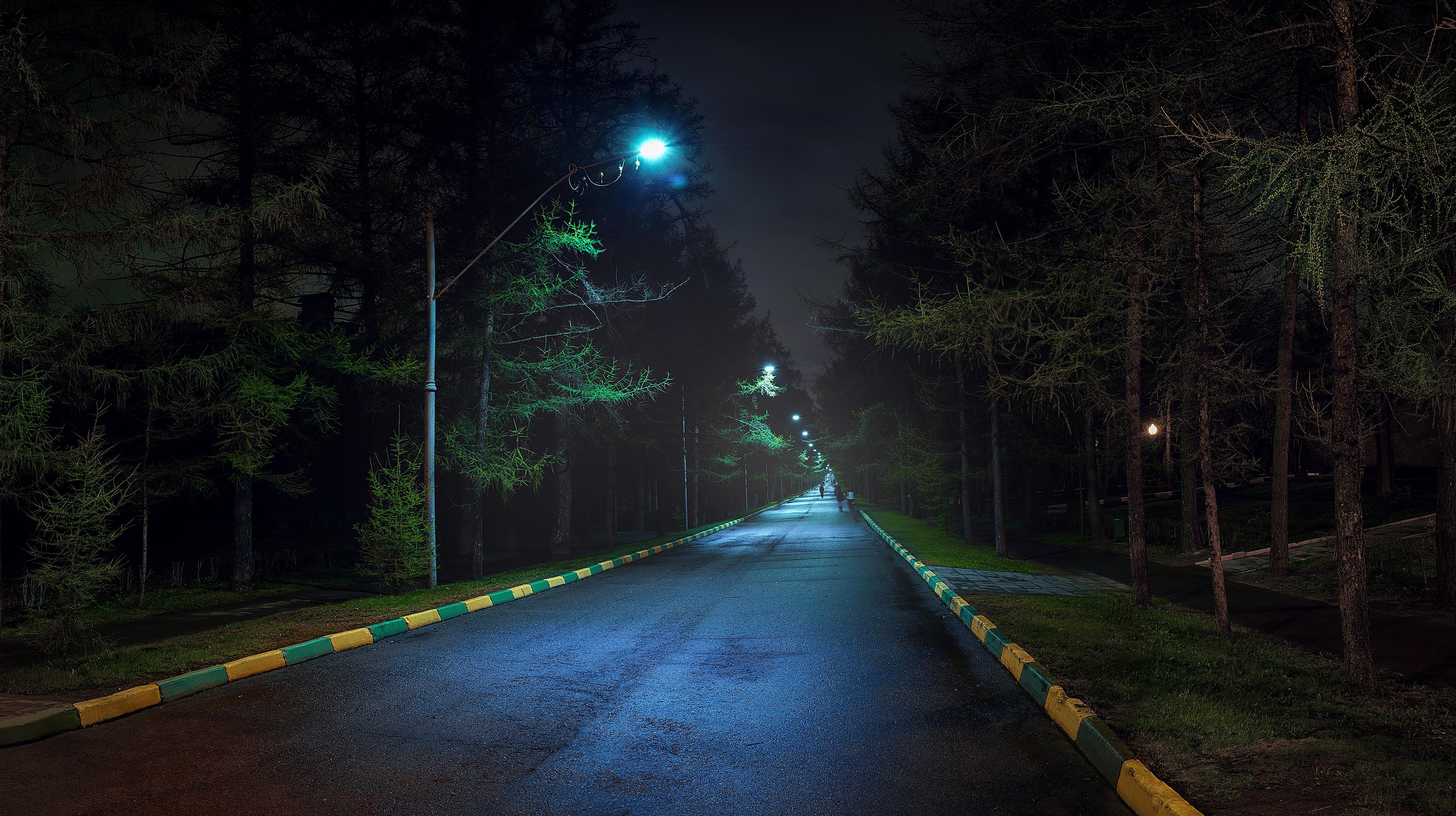 Франция дороги ночь фонари  № 2229317 без смс