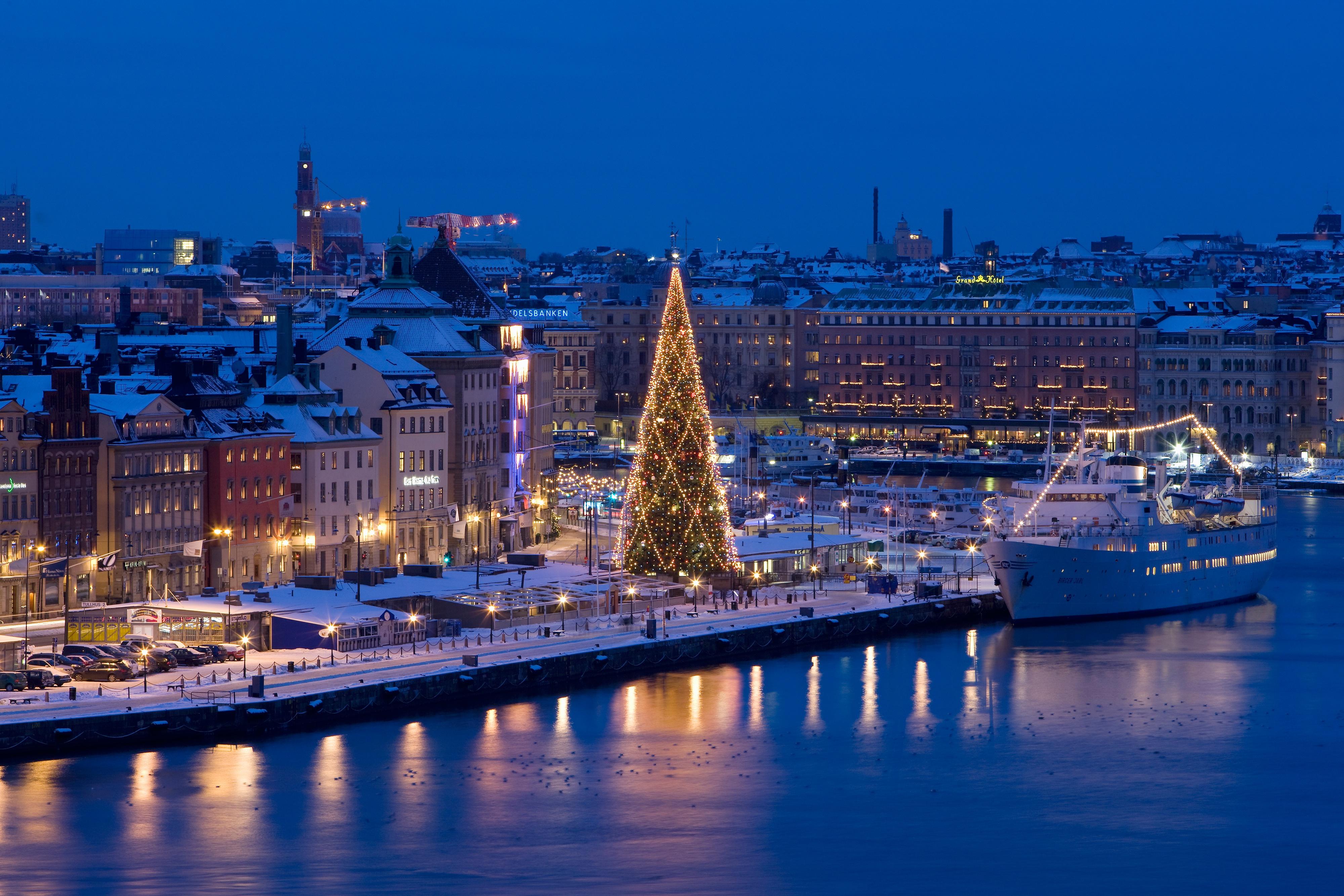 Обои корабль, швеция, дома, стокгольм, причал. Города foto 7