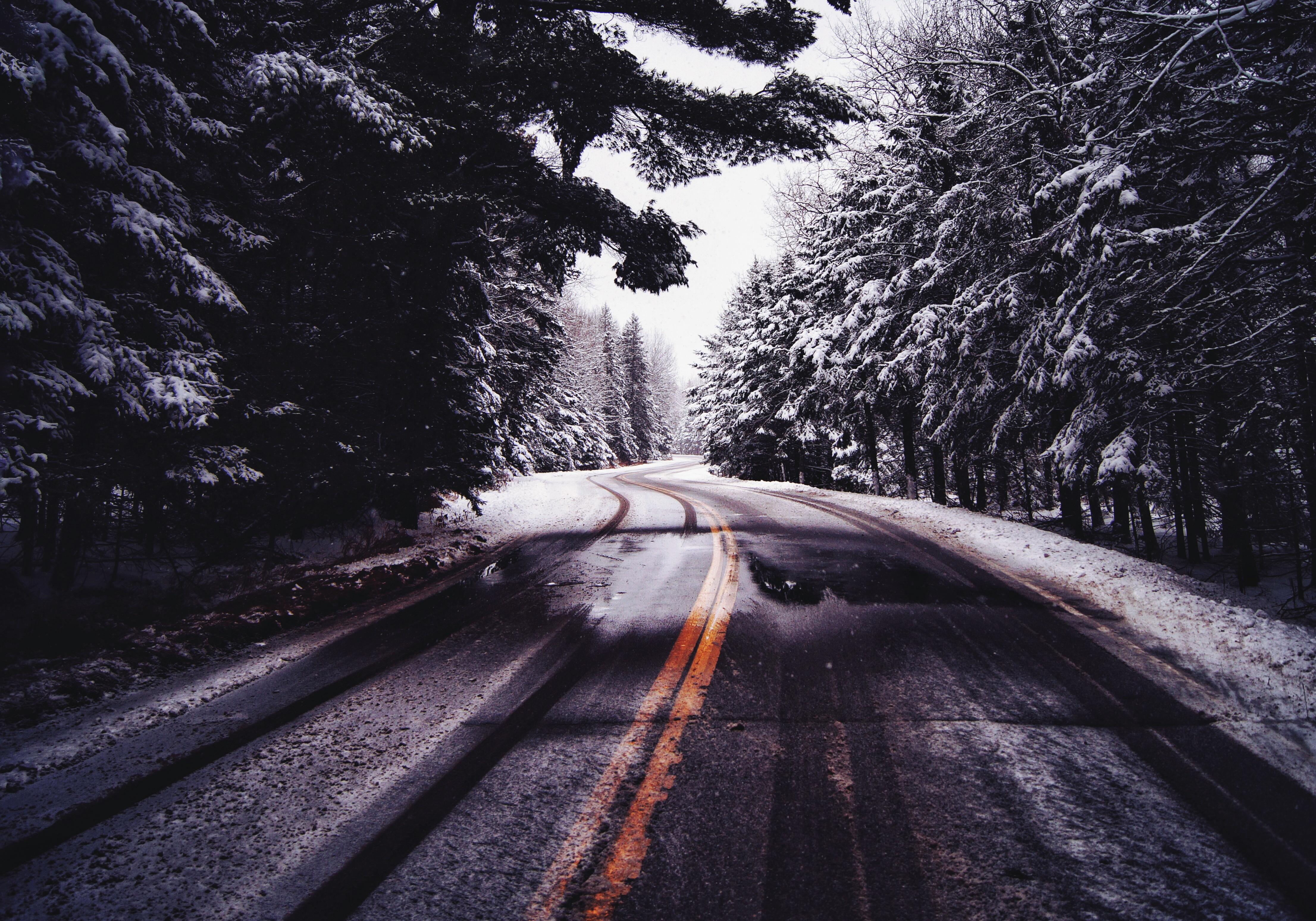 обои для рабочего стола железная дорога в лесу зимой № 231039  скачать