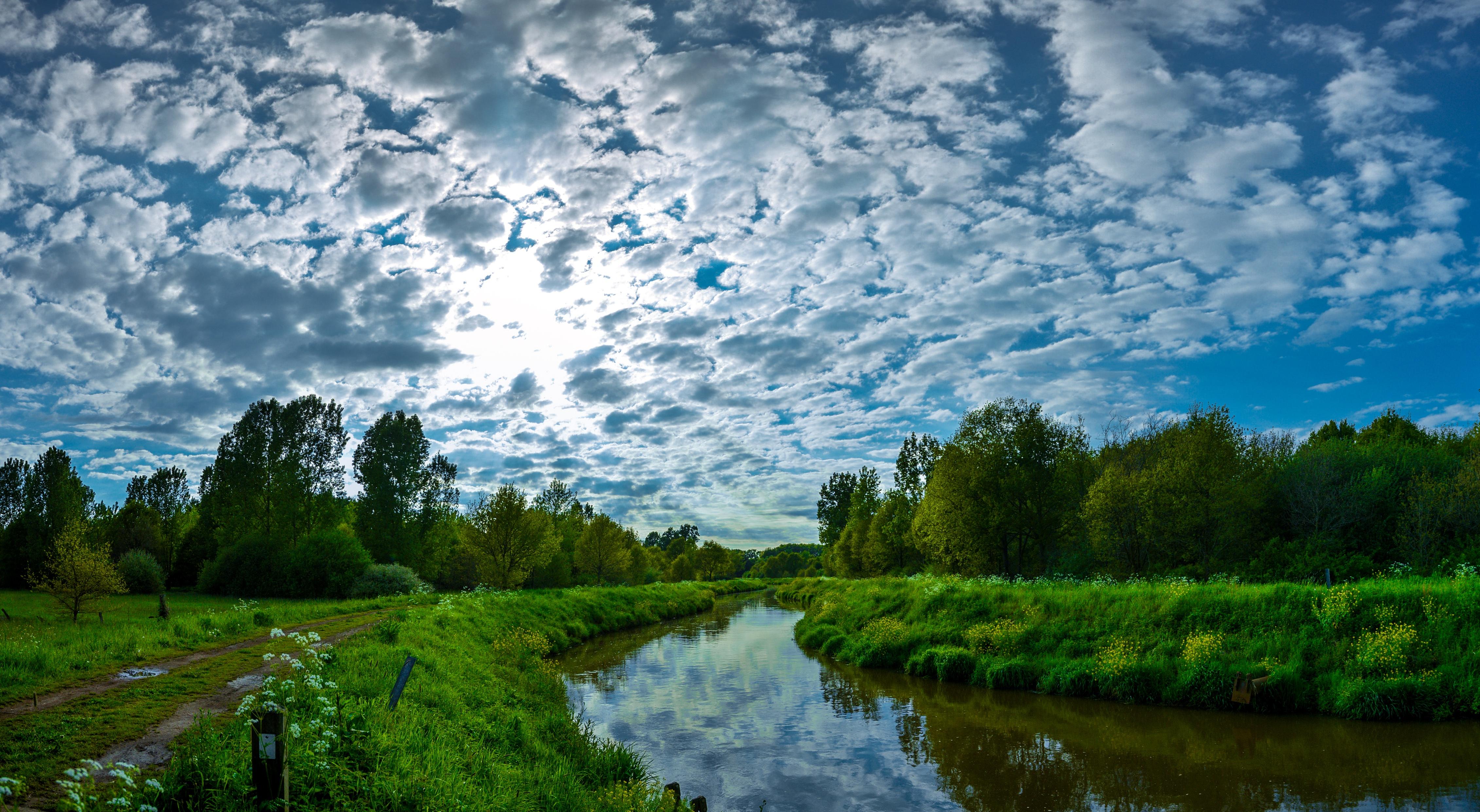 природа река деревья облака небо  № 316620 бесплатно