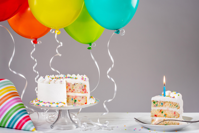Картинки с днем рождения шарики тортики