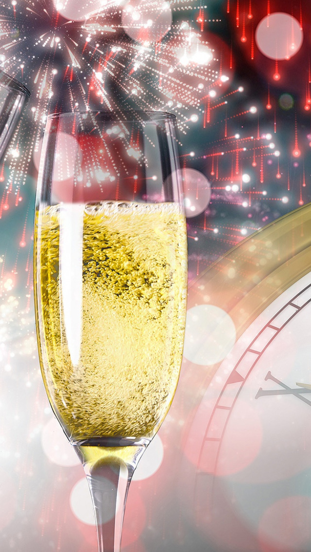Открытки с шампанским и салютом