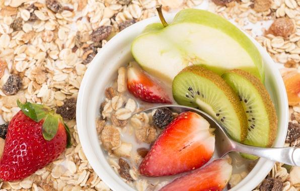 Картинка ягоды, завтрак, клубника, фрукты, breakfast, milk, мюсли, muesli, fresh berries