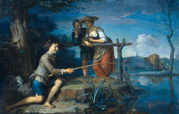 Картинка пейзаж, люди, масло, корова, картина, холст, Рыболов, Карел де Моор