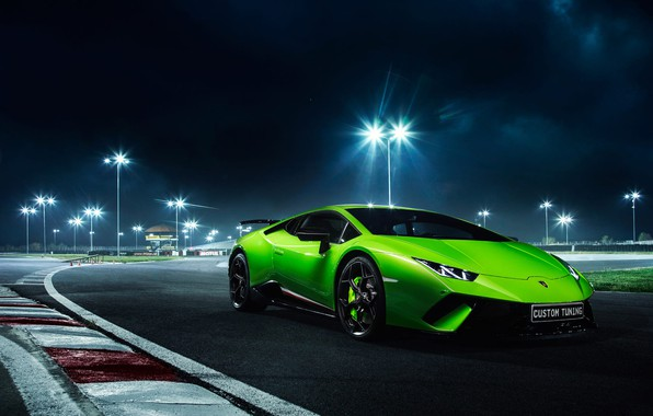 Картинка Lamborghini, Green, Night, Track, Performante, Huracan, LP610-4