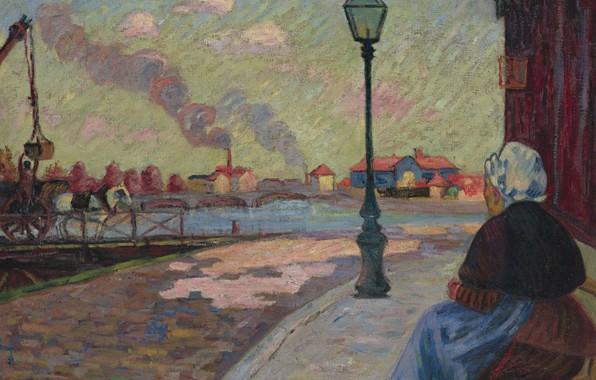 Картинка река, улица, картина, фонарь, городской пейзаж, Арман Гийомен, Armand Guillaumin, Сена в Шарантоне