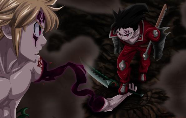 Картинка demon, sword, anime, fight, ken, blade, japanese, oni, shounen, Meliodas, Nanatsu no Taizai, bakemono, by …