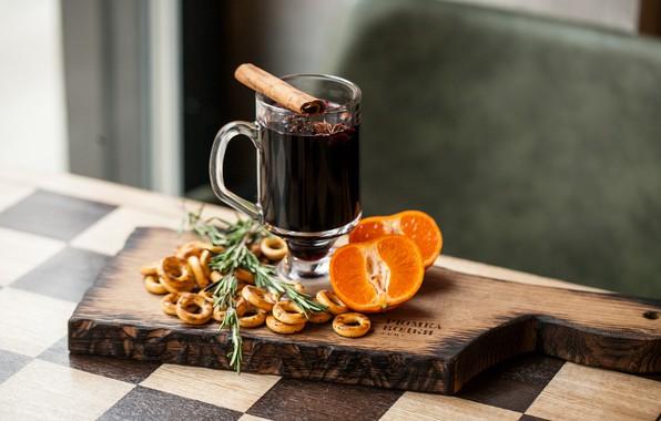 Картинка цитрус, напиток, корица, гвоздика, сушки