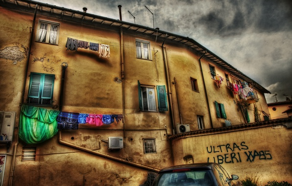 Картинка HDR, Дома, Италия, Окна, Здание, Italy, Italia, Town