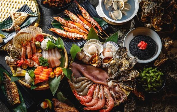 Картинка рыба, креветки, морепродукты, ассорти, моллюски, устрицы