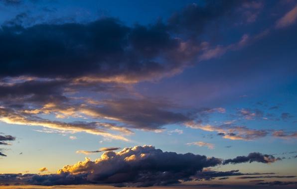 Картинка Закат, Солнце, Небо, Облака, Вечер, Синий, Белый, Горизонт, Утро, Свет, Рассвет, Голубой, Заря, На заре, …