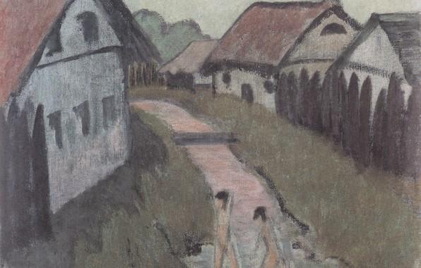 Картинка девушки, дома, речка, Экспрессионизм, Otto Mueller, ca1928, Dorfbach mit Badenden