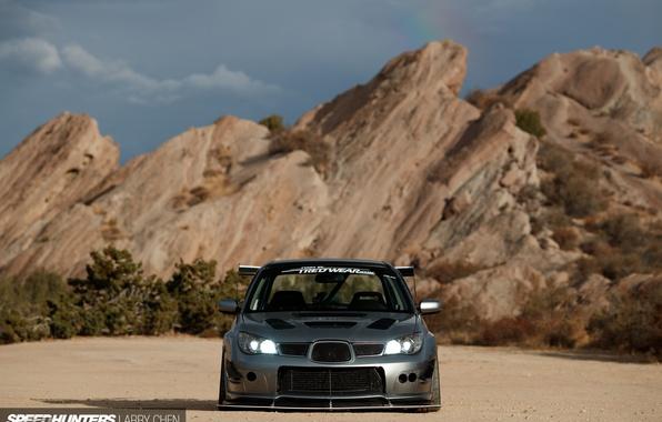 Картинка свет, скалы, фары, Subaru, WRX, STI, вид спереды