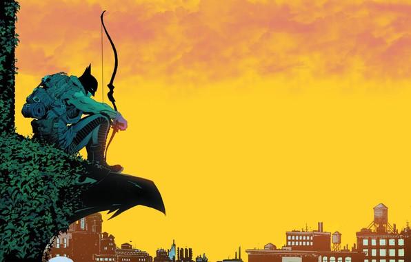 Картинка Небо, Желтый, Город, Бэтмен, Здания, Лук, City, Герой, Маска, Комикс, Sky, Супергерой, Hero, Арт, Batman, …