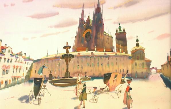 Фото обои площадь, фонтан, карета, 2019, АРУШ ВОЦМУШ, Мой старый Плюшевый Кролик