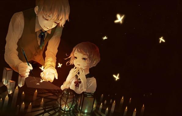 Картинка бабочки, волшебство, магия, свечение, свечи, мальчик, ручка, девочка, фонарики, в темноте