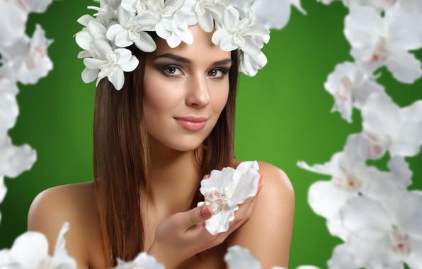 Картинка цветы, портрет, Девушка, орхидеи