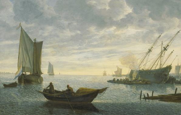 Картинка корабль, картина, парус, Ливе Питерсзон Версхюр, Конопачение Судна