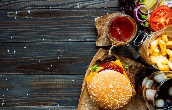 Картинка помидор, гамбургер, котлета, сэндвич, фастфуд, булочка, салат, tomatoes, fast food, hamburger, meat
