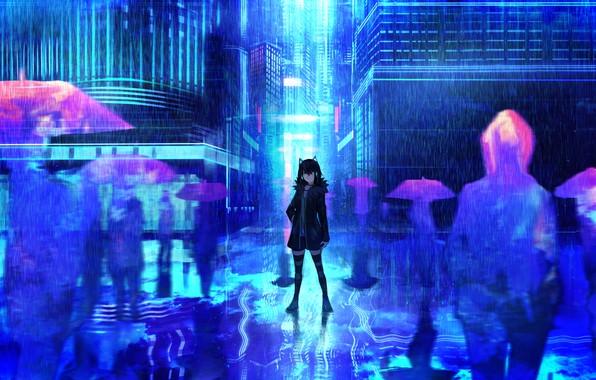 Картинка девушка, город, фон, дождь, аниме, арт, зонты, силуэты, tarbo (exxxpiation)