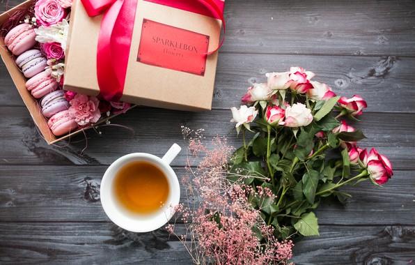 Картинка цветы, коробка, подарок, розы, букет, лента, flowers, spring, macaron, beauti, Mothers day