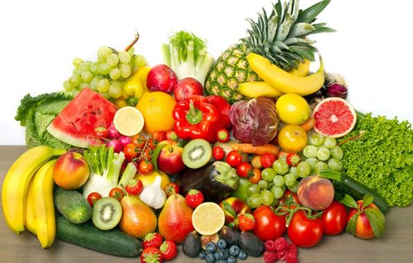Картинка ягоды, малина, лимон, арбуз, киви, черника, клубника, виноград, бананы, перец, фрукты, ананас, овощи, персики, сливы, …
