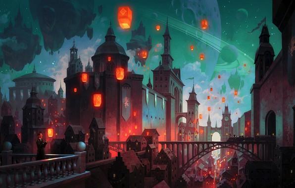 Картинка city, fantasy, tower, bridge, stars, man, train, planet, Castle, galaxy, digital art, buildings, artwork, architecture, ...