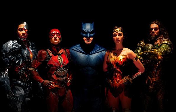 Картинка фантастика, черный фон, Wonder Woman, постер, Batman, Бен Аффлек, комикс, костюмы, супергерои, DC Comics, Bruce ...